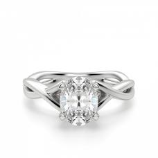 Кольцо с переплетением с овальным бриллиантом