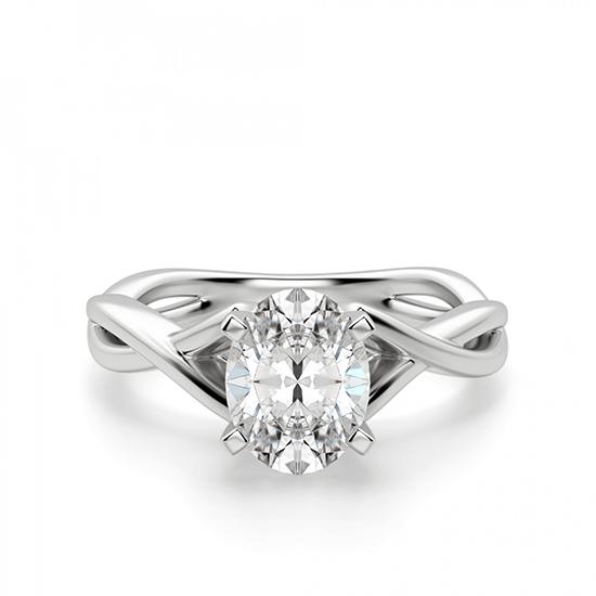 Кольцо с переплетением с овальным бриллиантом, Больше Изображение 1