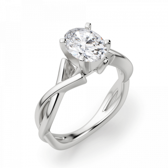Кольцо с переплетением с овальным бриллиантом,  Больше Изображение 3