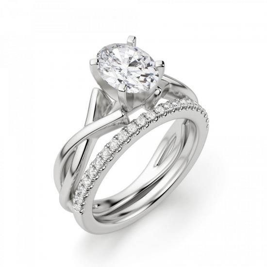 Кольцо с переплетением с овальным бриллиантом,  Больше Изображение 5