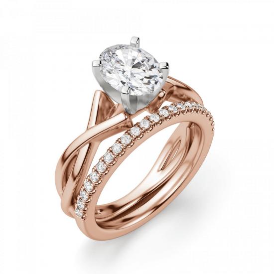 Кольцо с переплетениями с овальным бриллиантом,  Больше Изображение 5