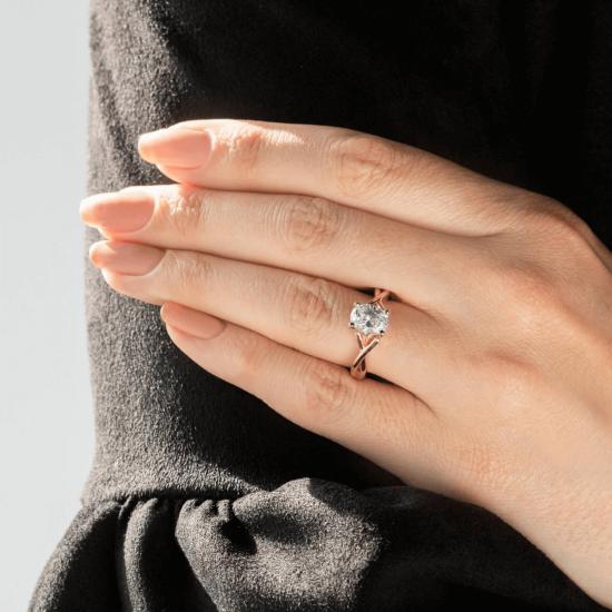 Кольцо с овальным бриллиантом,  Больше Изображение 9
