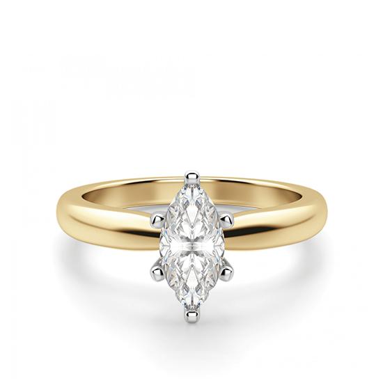 Кольцо с бриллиантом маркиз на претеной шинке, Больше Изображение 1