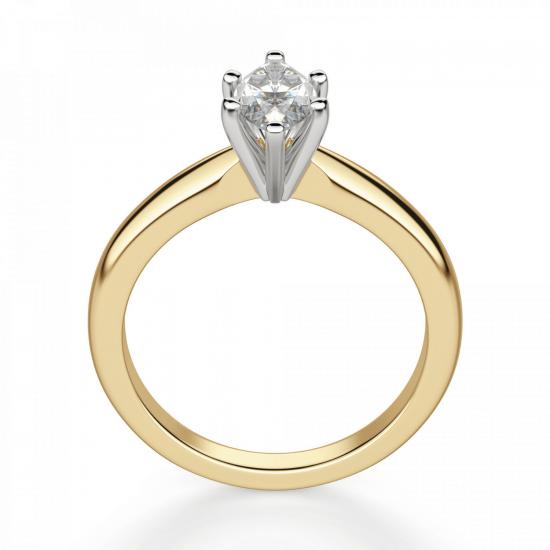 Кольцо с бриллиантом маркиз в 6 лапках из золота,  Больше Изображение 2