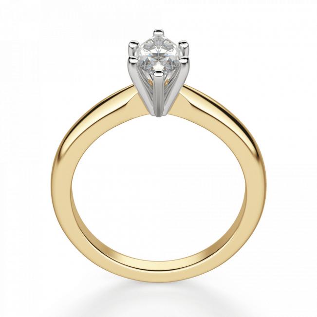 Кольцо с бриллиантом маркиз в 6 лапках из золота