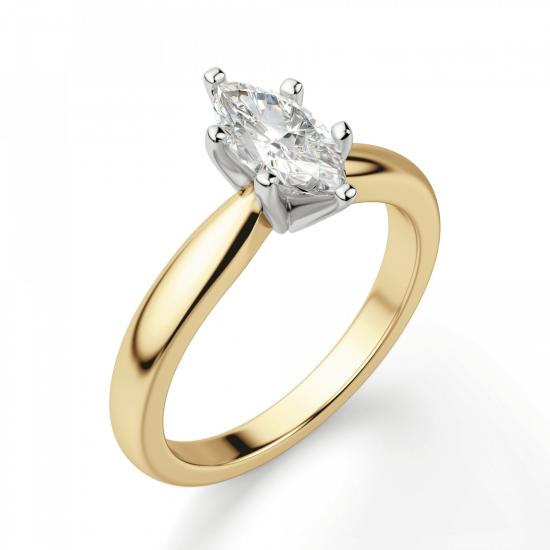 Кольцо с бриллиантом маркиз в 6 лапках из золота,  Больше Изображение 3