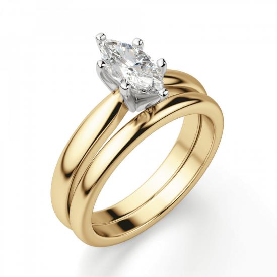 Кольцо с бриллиантом маркиз в 6 лапках из золота,  Больше Изображение 4