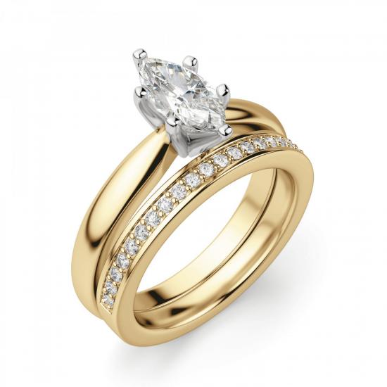 Кольцо с бриллиантом маркиз в 6 лапках из золота,  Больше Изображение 5
