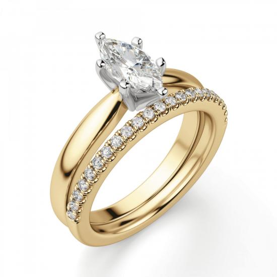 Кольцо с бриллиантом маркиз в 6 лапках из золота,  Больше Изображение 6