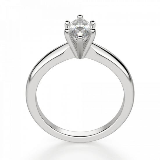 Кольцо с бриллиантом маркиз в 6 лапках,  Больше Изображение 2