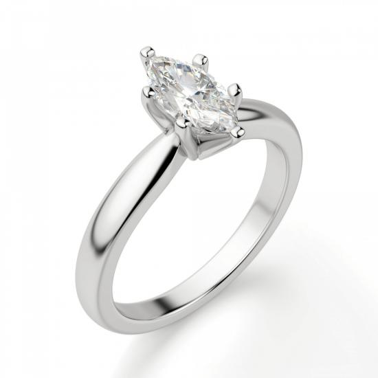 Кольцо с бриллиантом маркиз в 6 лапках,  Больше Изображение 3