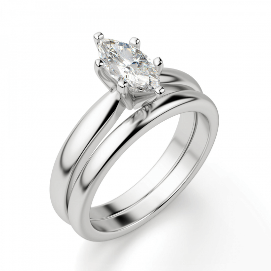 Кольцо с бриллиантом маркиз в 6 лапках,  Больше Изображение 4