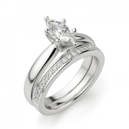 Кольцо с бриллиантом маркиз в 6 лапках,  Больше Изображение 5