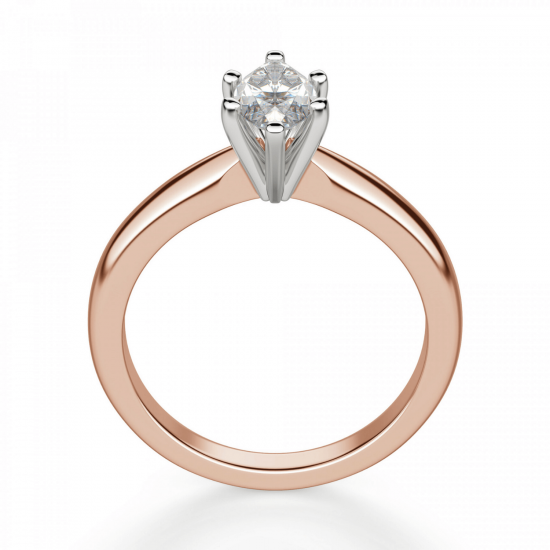 Кольцо с бриллиантом маркиз на претеной шинке,  Больше Изображение 2