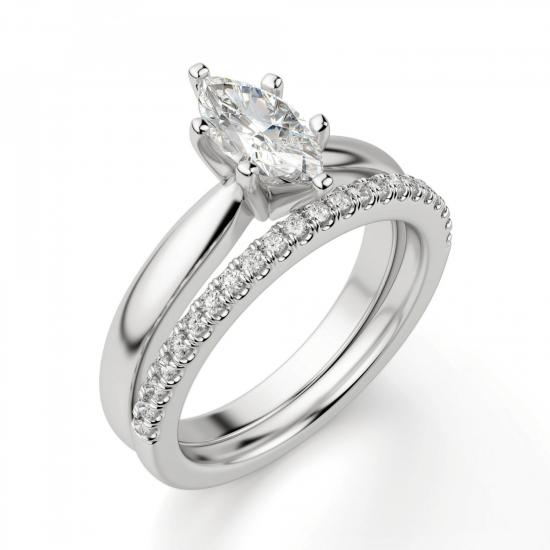 Кольцо с бриллиантом маркиз в 6 лапках,  Больше Изображение 6