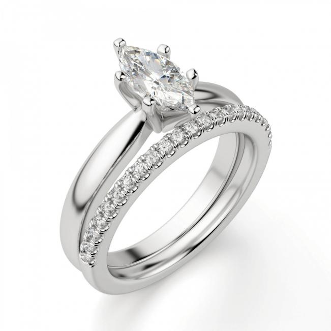 Кольцо с бриллиантом маркиз в 6 лапках
