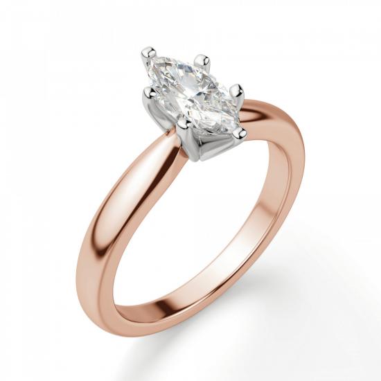 Кольцо с бриллиантом маркиз на претеной шинке,  Больше Изображение 3