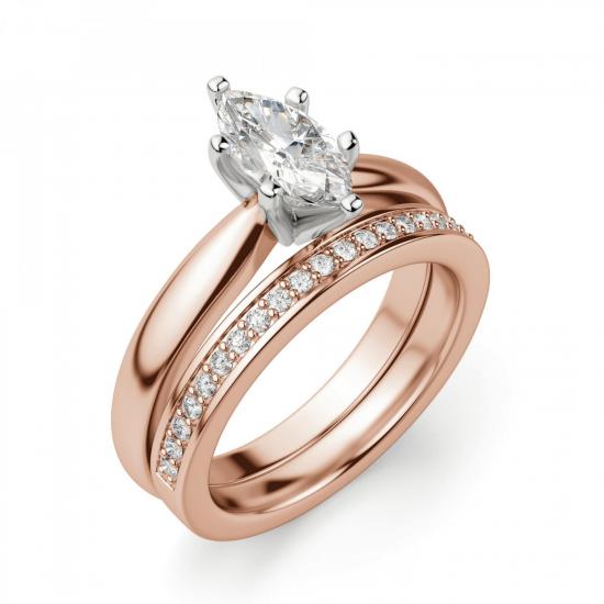 Кольцо с бриллиантом маркиз на претеной шинке,  Больше Изображение 5