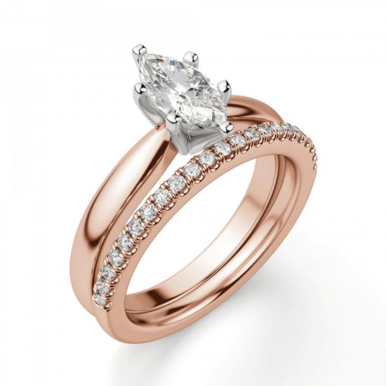 Кольцо с бриллиантом маркиз на претеной шинке,  Больше Изображение 6