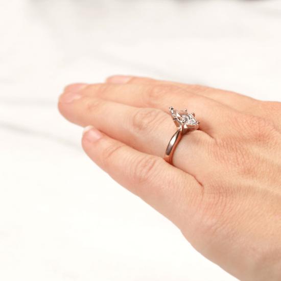 Кольцо с бриллиантом маркиз в 6 лапках из золота,  Больше Изображение 7