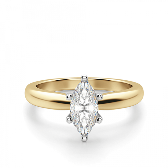 Кольцо с бриллиантом маркиз в 6 лапках из золота, Больше Изображение 1
