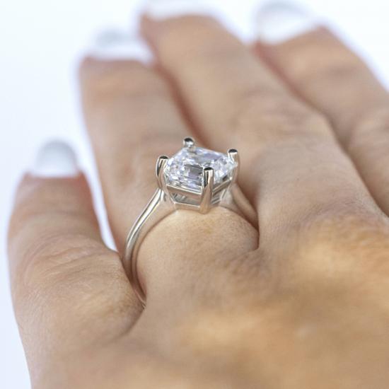Кольцо с бриллиантом ашер,  Больше Изображение 5