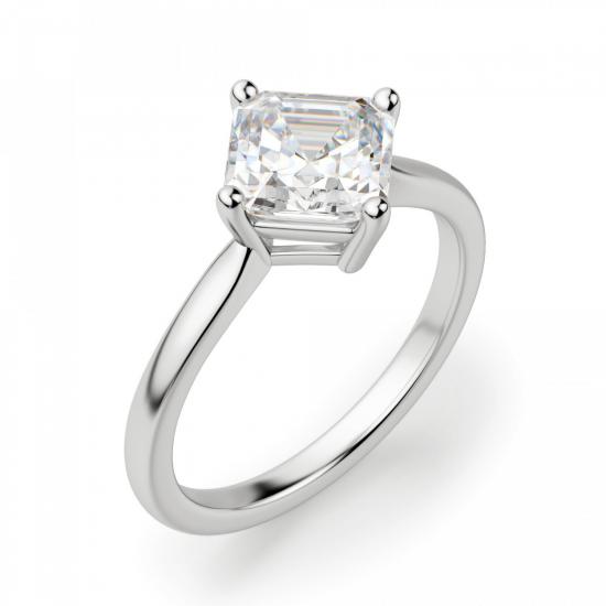 Кольцо с бриллиантом ашер,  Больше Изображение 3