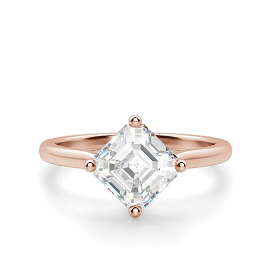 Кольцо из белого золота с бриллиантом ашер, Больше Изображение 1