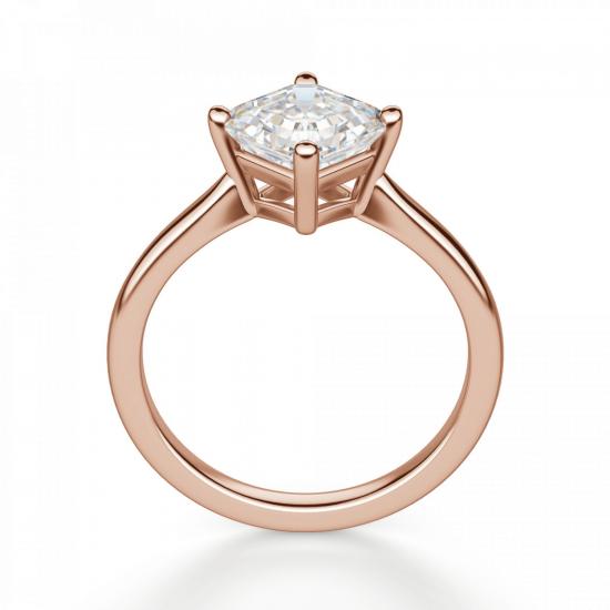Кольцо из белого золота с бриллиантом ашер,  Больше Изображение 2