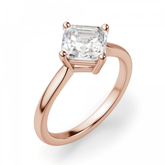 Кольцо из белого золота с бриллиантом ашер,  Больше Изображение 3