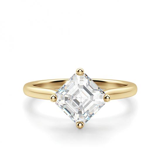 Кольцо с перевернутым бриллиантом ашер, Больше Изображение 1