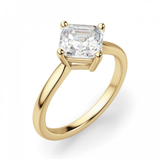 Кольцо с перевернутым бриллиантом ашер,  Больше Изображение 3