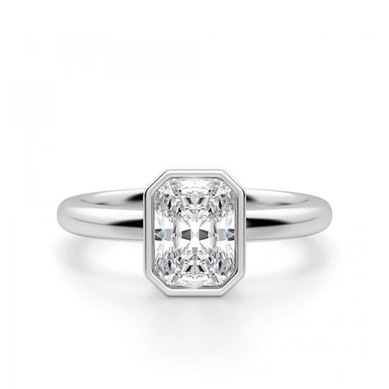 Кольцо из белого золота с бриллиантом радиант, Больше Изображение 1