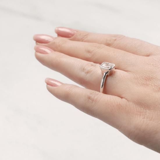 Кольцо с бриллиантом формы радиант,  Больше Изображение 6