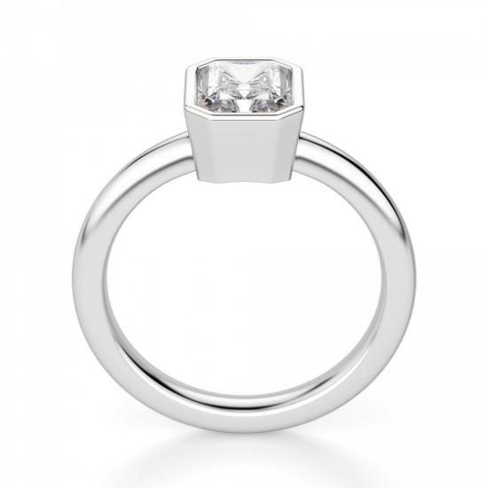 Кольцо из белого золота с бриллиантом радиант,  Больше Изображение 2