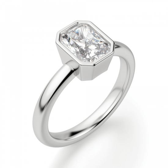 Кольцо из белого золота с бриллиантом радиант,  Больше Изображение 3