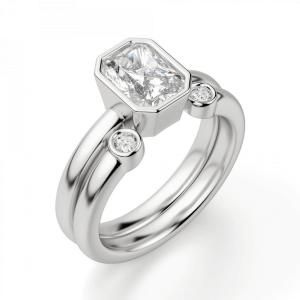 Кольцо из белого золота с бриллиантом радиант - Фото 3