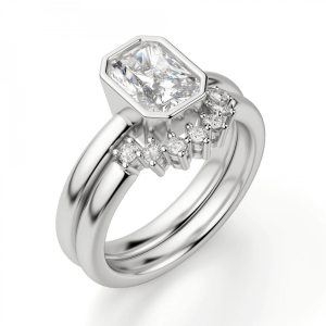 Кольцо из белого золота с бриллиантом радиант - Фото 4