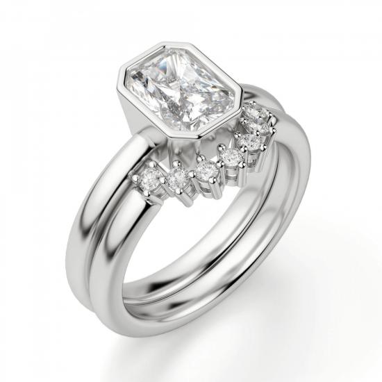 Кольцо из белого золота с бриллиантом радиант,  Больше Изображение 5