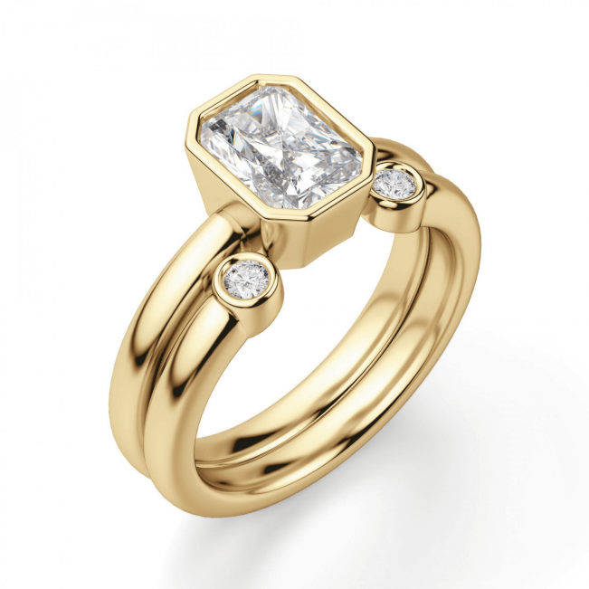 Кольцо с бриллиантом огранки радиант - Фото 3