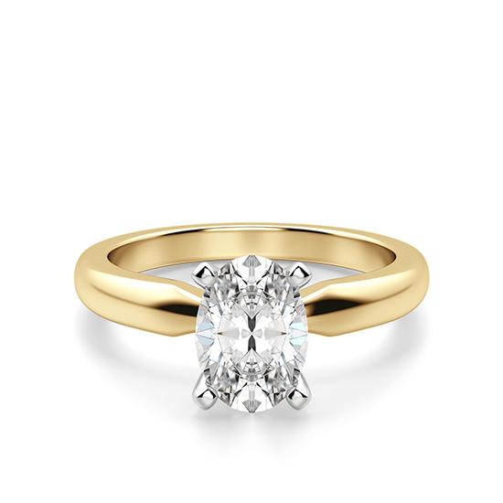 Кольцо из желтого золота с овальным бриллиантом, Больше Изображение 1