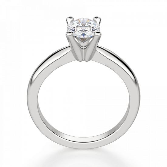 Кольцо из белого золота с бриллиантом овал,  Больше Изображение 2