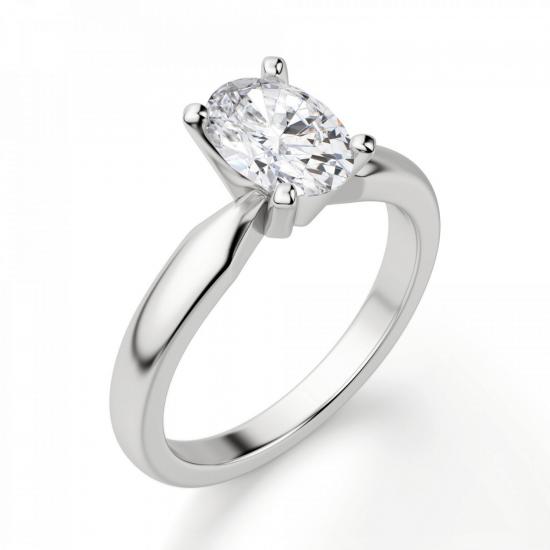 Кольцо из белого золота с бриллиантом овал,  Больше Изображение 3