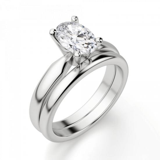 Кольцо из белого золота с бриллиантом овал,  Больше Изображение 4