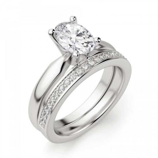 Кольцо из белого золота с бриллиантом овал,  Больше Изображение 5