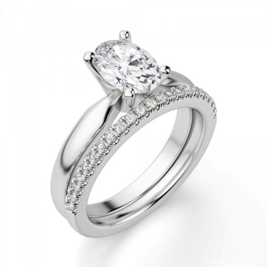 Кольцо из белого золота с бриллиантом овал,  Больше Изображение 6