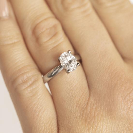 Кольцо из белого золота с бриллиантом овал,  Больше Изображение 7