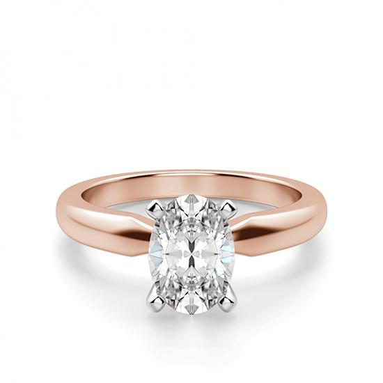 Кольцо с овальным бриллиантом из розового золота, Больше Изображение 1