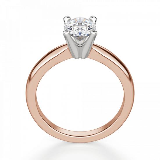 Кольцо с овальным бриллиантом из розового золота,  Больше Изображение 2