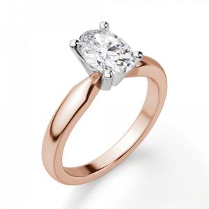 Кольцо с овальным бриллиантом из розового золота